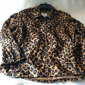 Leopard print faux fur shirt zip up jacket Large